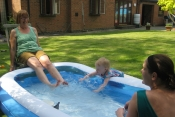 Penny & Annabelle at the paddling pool