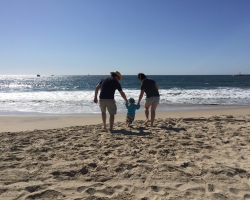Ben, Brex-Anna and Max on the beach